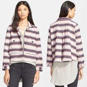 THE GREAT. the swing army striped jacket